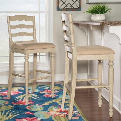 Linon Katy Distressed White Washed Rubberwood Bar Stool with Fabric Cushion