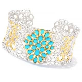 Michael Valitutti Palladium Silver Multi Shape Sleeping Beauty Turquoise Cuff Bracelet