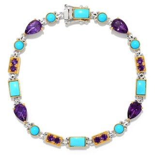 Michael Valitutti Palladium Silver Sleeping Beauty Turquoise & African Amethyst Line Bracelet