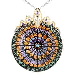 Michael Valitutti Palladium Silver Paris Hand-Painted Shell & African Amethyst Landmark Pendant - NOTRE DAME