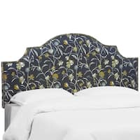 Skyline Furniture Nail Button Headboard in Whisp Floral Navy Ochre