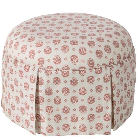 Skyline Furniture Ottoman in Small Block Floral Dusty Red