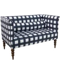 Skyline Furniture Settee in Buffalo Square Blue