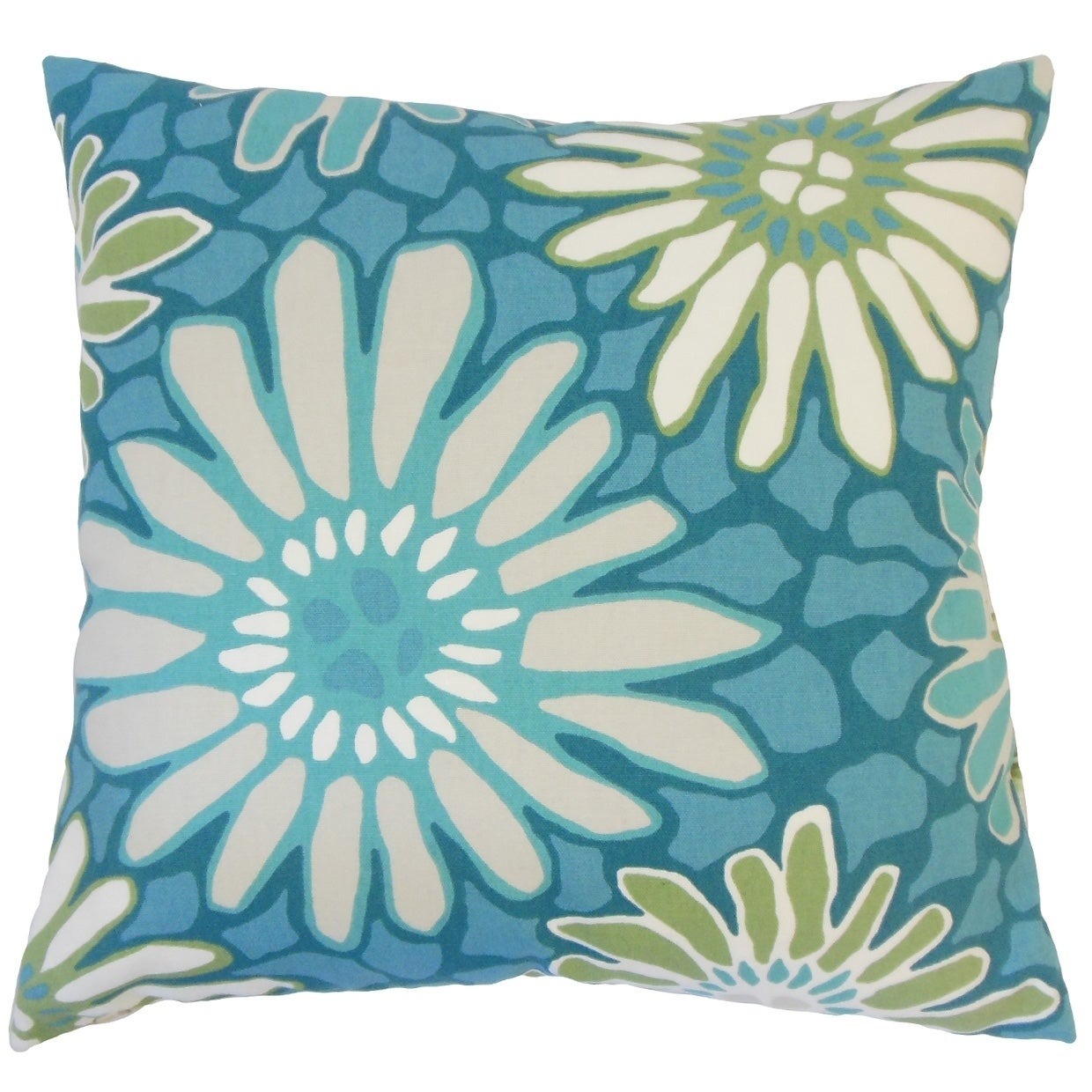 Sabeen Floral Down Filled Throw Pillow in Turquoise (Rectangle - 12 x 18)