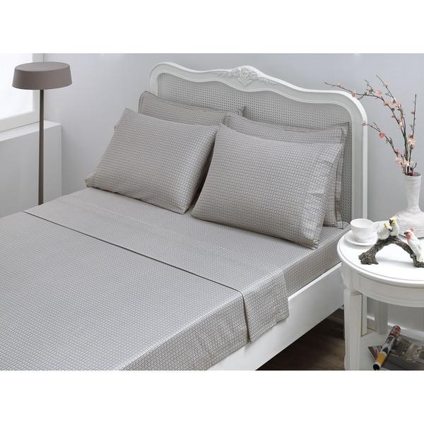 Shop Houndstooth Twin/Twin XL Sateen Sheet Set, Grey   Free