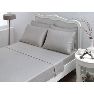 Houndstooth Sateen Sheet Set, Grey