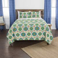 Maddux Place Franky Hand Quilted Cotton Reversible 3-Piece Quilt Set