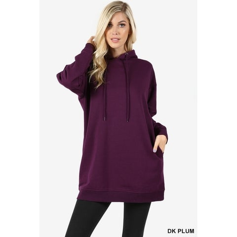 JED Women's Comfy Fit Hooded Pull-Over Tunic Sweater with Pockets