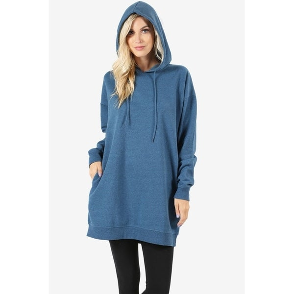 dcf77b56470 ... Women's Sweaters; /; Long Sleeve Sweaters. JED Women's Comfy Fit  Hooded Pull-Over Tunic Sweater with Pockets
