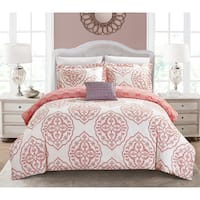 Chic Home Froilan 8 Piece Coral Medallion Print Reversible Duvet Cover and Sheet Set