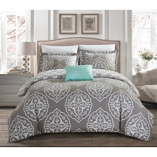 Chic Home Froilan 8 Piece Grey and Teal Medallion Print Reversible Duvet Cover and Sheet Set