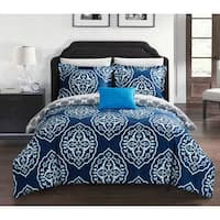 Chic Home Froilan 8 Piece Navy Medallion Print Reversible Duvet Cover and Sheet Set