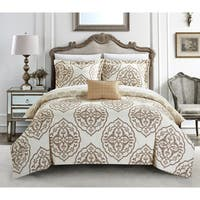 Chic Home Froilan 8 Piece Beige Medallion Print Reversible Duvet Cover and Sheet Set