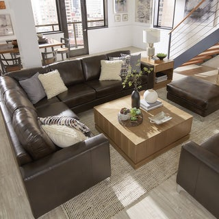 Bastian Aniline Leather Dark Brown L-Shaped Sectionals by iNSPIRE Q Modern