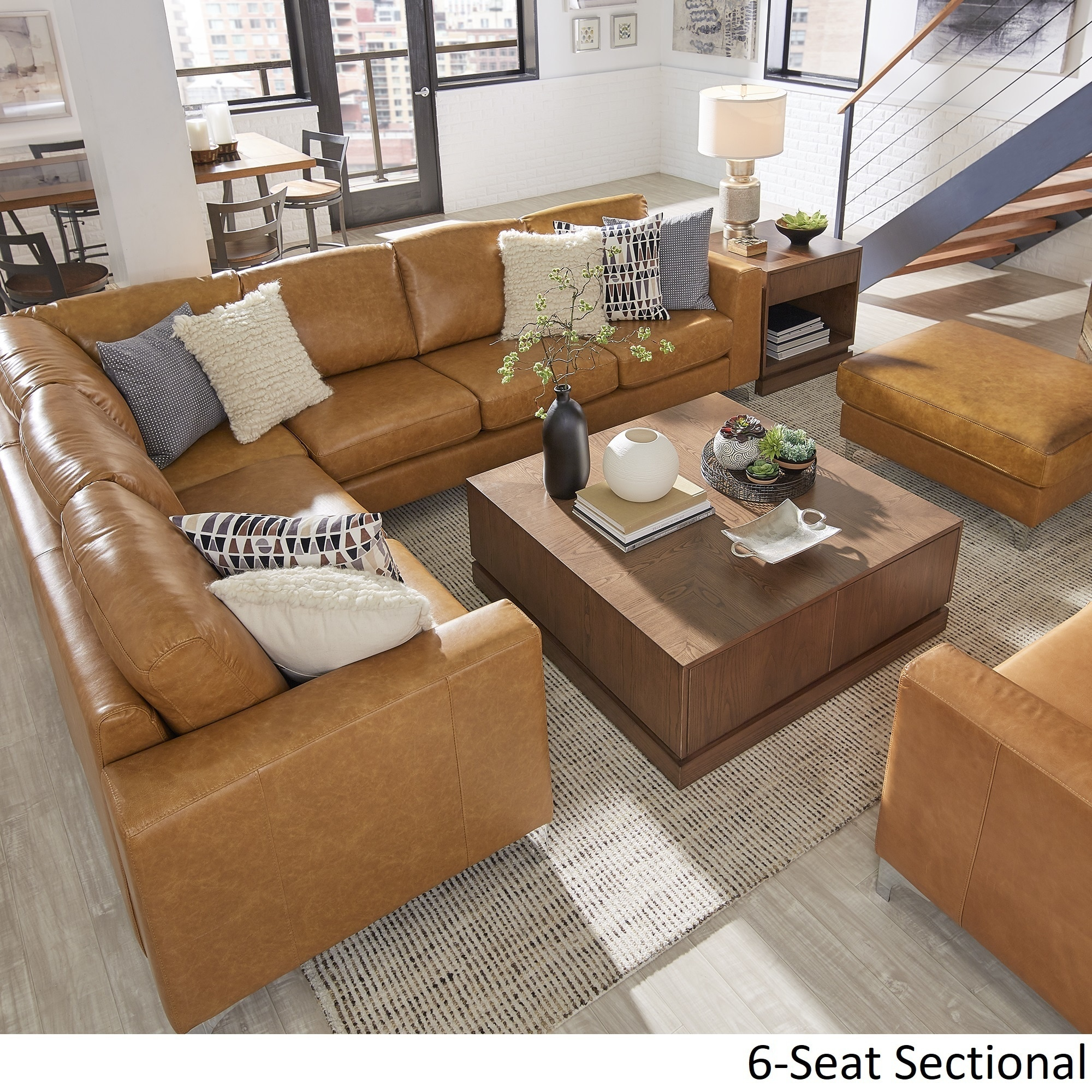 Shop Bastian Aniline Leather Caramel L Shaped Sectionals By Inspire Q Modern Overstock 18079050