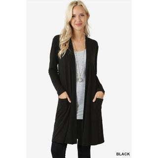 JED Women's Long Sleeve Cardigan with Side Pockets (Option: small - Black)