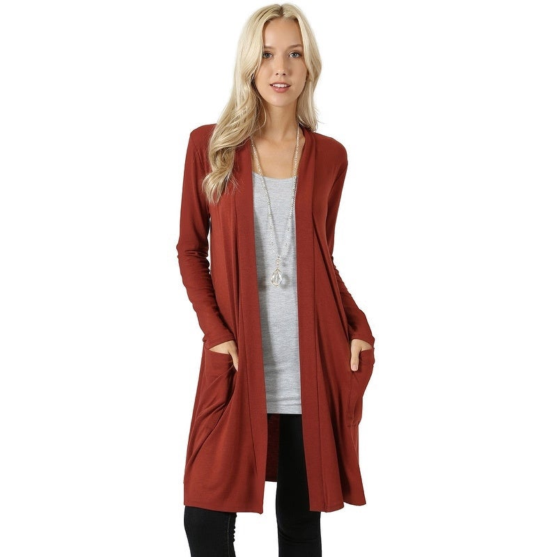 JED Womens Long Sleeve Cardigan with Side Pockets