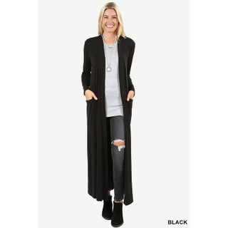 JED Women's Long Sleeve Maxi Cardigan with Side Pockets