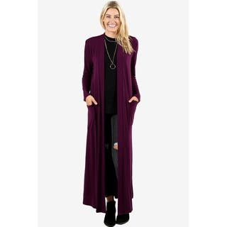 JED Women's Long Sleeve Maxi Cardigan with Side Pockets|https://ak1.ostkcdn.com/images/products/18079052/P24239678.jpg?impolicy=medium