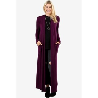 JED Women's Long Sleeve Maxi Cardigan with Side Pockets (More options available)