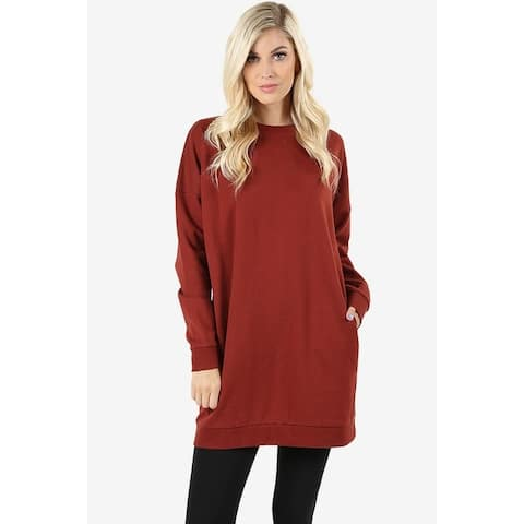 JED Women's Comfy Fit Crewneck Long Sleeve Pull-Over Tunic Sweatshirt