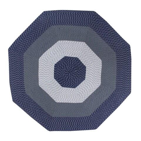 Country Braid 6' Octagonal - Dark Blue Stripe
