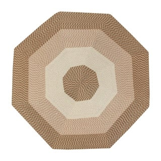 Better Trends Country Braid Camel/Tan/Cream Straw Stripe Octagonal Reversible Area Rug (8' x 8')