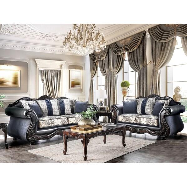 Furniture Of America Klenwood Traditional 2 Piece Damask Upholstered Sofa  Set