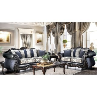 High Quality Furniture Of America Klenwood Traditional 2 Piece Damask Upholstered Sofa  Set
