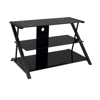 Offex Artesia Black Glass 38-inch TV Stand