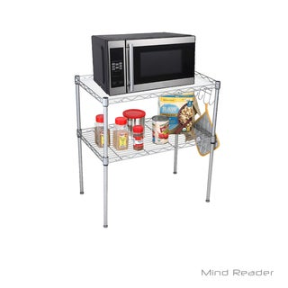 Mind Reader 2 Tier Microwave Shelf and Rack with 6 Hooks