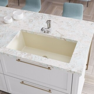 R3-1006 Single Bowl Undermount Composite Granite Sink, Grid, and Matching Colored Flange (5 options available)
