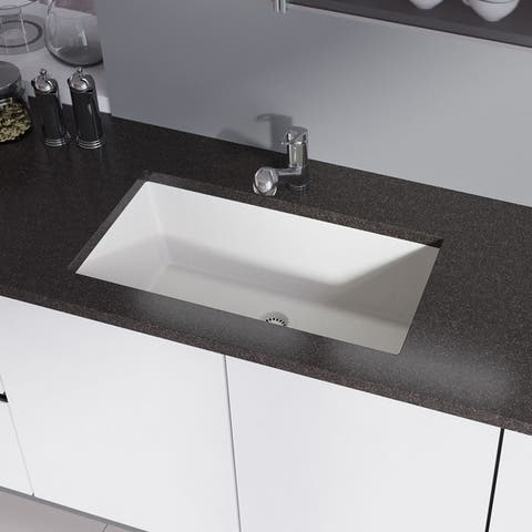 R3-1006 Single Bowl Undermount Composite Granite Sink, Grid, and Matching Colored Flange
