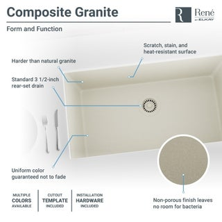 R3-1006 Single Bowl Undermount Composite Granite Sink, Grid, and Matching Colored Flange (Option: Concrete)