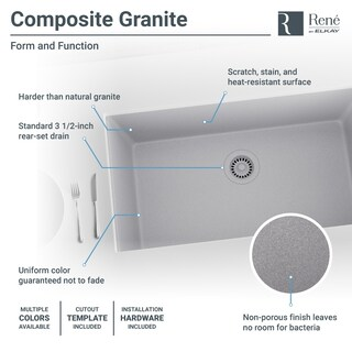 R3-1006 Single Bowl Undermount Composite Granite Sink, Grid, and Matching Colored Flange (More options available)