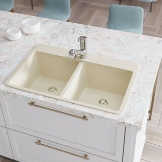 R3-2002 Double Equal Bowl TruGranite Kitchen Sink, Two Grids, and Matching Colored Flange