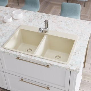 R3-2002 Double Equal Bowl Quartz Kitchen Sink, Two Grids, and Matching Colored Flange