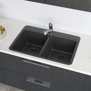 R3-2002 Double Equal Bowl TruGranite Kitchen Sink, Two Grids, and Matching Colored Strainer(s)