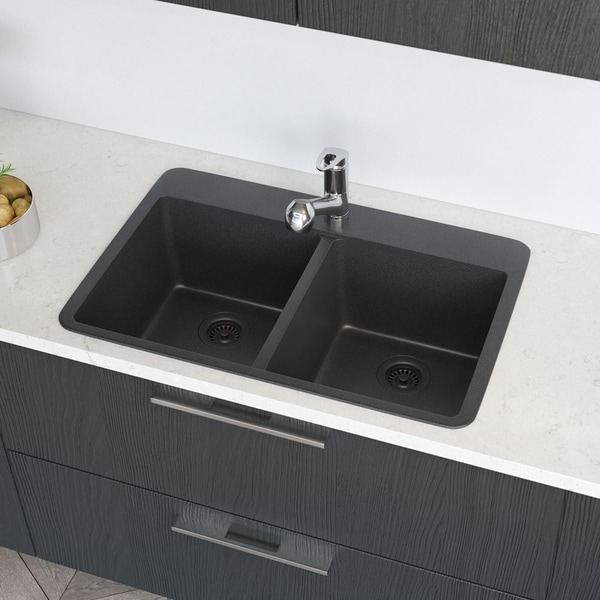 R3-2002 Double Equal Bowl Quartz Kitchen Sink, Two Grids, and Matching Colored Strainer(s). Opens flyout.