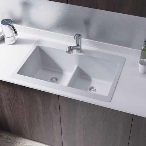 R3-2007 Double Equal Bowl Low-Divide Topmount Quartz Sink, Two Grids, and Matching Colored Flange