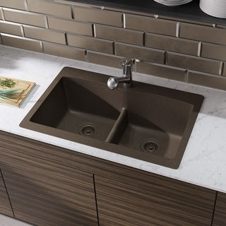 R3-2007 Double Equal Bowl Low-Divide Topmount TruGranite Sink, Two Grids, and Matching Colored Strainer(s)