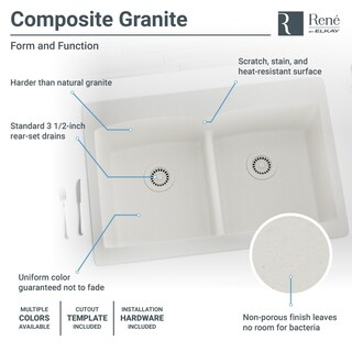 R3-2007 Double Equal Bowl Low-Divide Topmount Quartz Sink, Two Grids, and Matching Colored Strainer(s)