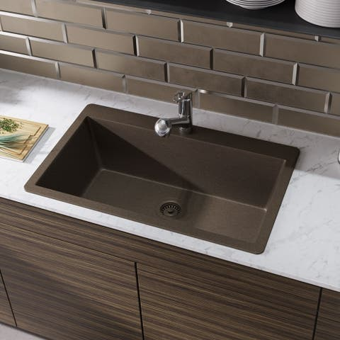 R3-2006 Single Bowl Topmount Quartz Sink, Grid, and Colored Flange