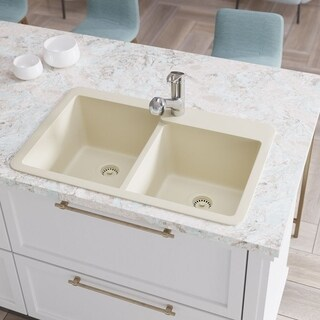 R3-2001 Double Offset Bowl Quartz Sink, Two Grids, and Matching Colored Strainer(s)