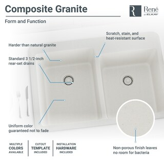 R3-2001 Double Offset Bowl Quartz Sink, Two Grids, and Matching Colored Strainer(s) (Option: ivory)