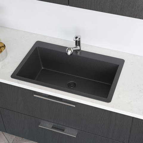 R3-2006 Single Bowl Topmount Quartz Sink, Grid, and Colored Strainer