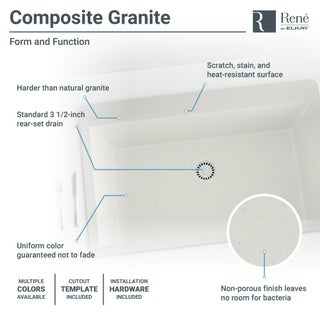 R3-2006 Single Bowl Undermount Quartz Sink, Grid, and Matching Colored Flange (Option: White)