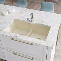 R3-1007 Double Equal Bowl Low-Divide Undermount TruGranite Sink, Two Grids, and Matching Colored Flange