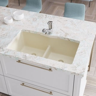 R3-1007 Double Equal Bowl Low-Divide Undermount TruGranite Sink, Two Grids, and Matching Colored Flange (More options available)