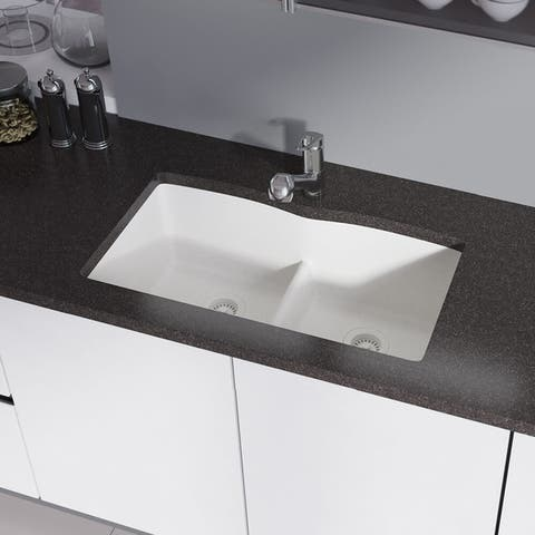 R3-1007 Double Equal Bowl Low-Divide Undermount TruGranite Sink, Two Grids, and Matching Colored Strainer(s)
